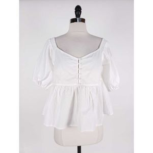 Free People Peplum Button Front Top